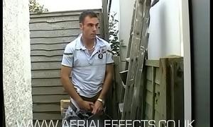 Scally Brit builder Stevo wanks off on the job