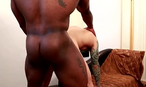 Hunky black muscle assfucking doggy style