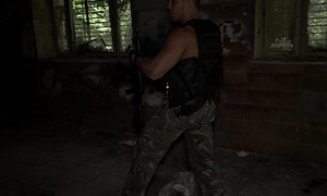 Hot military guy masturbating and cumming after patrol in Ultra HD video
