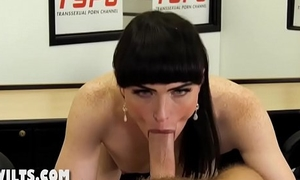 Shemale gets fucked at the office