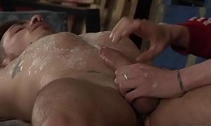 Young gay Nathan Hope cums unending after intense handjob