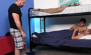 Gay daddy bear catches son fucking his gay friend