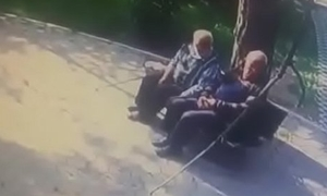 Old men outdoor giving a kiss gay to gay