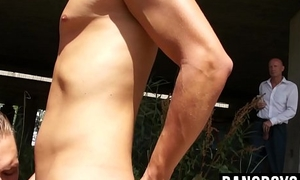 Three hot twink action outdoors joined by older gay guy