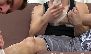Foot fetish studs enjoy some gentle licking together with sucking