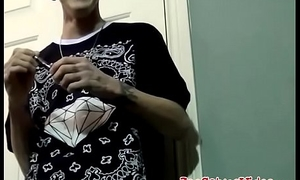 Tattooed thug receives blowjob from a fat cock sucker