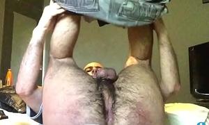 Solo hairy spread fuckhole