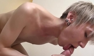 Japanese twink jerks cock