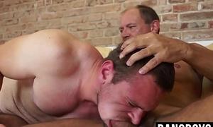 Hairy jock choking on old dick before rough bareback