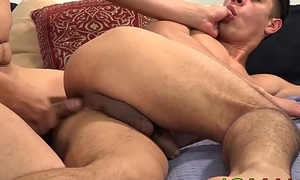 Latino stud sucks cock while finger-tickled before bareback
