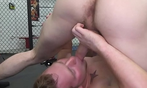 Ripped gay duo assfucking after gymnastics
