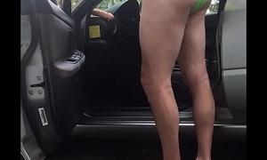 Dad/mature cruising in car in bra/panties flashing a supplicant  filming adam longrod