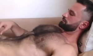 Hairy beauty jerks moans and finishes off