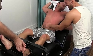 Handsome jock restrained and tickled to freaky threeway
