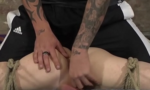 Naughty twink spread wide wits ropes coupled with dominated with cock
