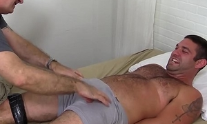 Uncommon pervert loves to beguile and tease hairy tied up stud