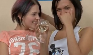 Sexy lesbians acquire horny after a few drinks