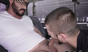 Blindfolded straight guy butt fucks a homosexual in the fore