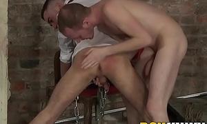 Sadomasochism slave gagging on massive maledom cock