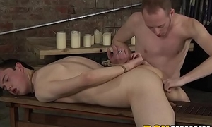 Bound twink gagging on massive maledom cock