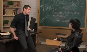 Teacher blows emo twink and ass fucks him permanent and fast