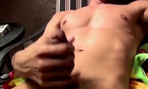 Smoking fetish stud enjoys a solo load of shit stroke session