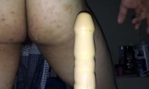 RIDING A HUGE DILDO IN THE SHOWER
