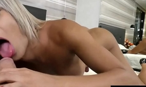 Scalding Tranny Juliana Leal Tempts a Dude into Fucking Her Mouth and Ass Hard