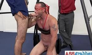 Blindfolded pal doing taste test with cock