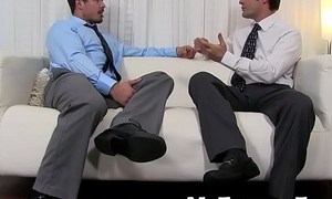 Office stud gets his juicy feet slurped with delight