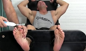 Handsome studs feet with the addition of chest uncovered with the addition of tickled