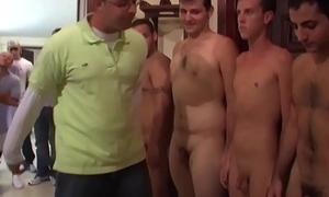 Frat pledging twink jerking dick
