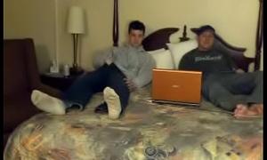 Hidden cam bi-curious men jerk each other off