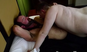 Deviant bear receives blowjob plus bare copulates his boy toy
