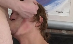 Cock brush throat clearing for long haired twink fuck toy