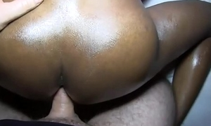 Dark skinned sexy ladyboy ATM action