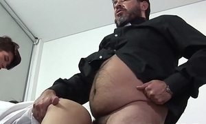 Hairy mature man has ruin fucking threesome with twinks