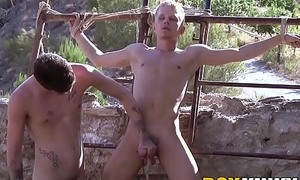Obedient twink throated away from big cock maledom