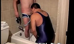 Chubby boi likes when his band together takes a piss all over him