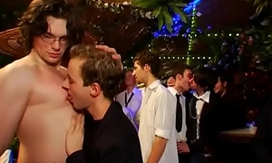 Men only party turns into a wild gay orgy with ripped studs