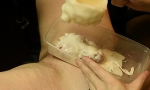 Boy cock encased in hot blow up expand on CBT
