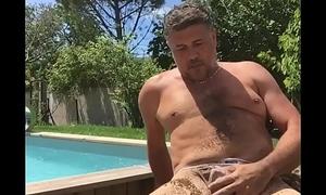 Alms-man masturbating in censorious thong