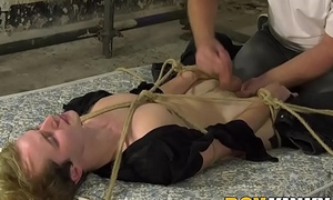 Young blond twinky roped down for a animated cook jerking