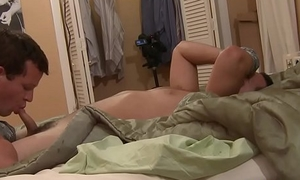 Anally toyed twink sucking dick