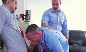 Hunky office manager anally training his new employees