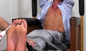 A bound gay challenge has foot fetish boxing-match not far from a pervert