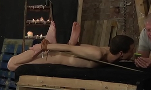 Fingerfucked twink roped with regard to and dommed until he cums