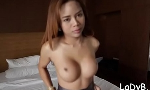 Thai lady-boy gives a blow and experiences coarse bareback fuck