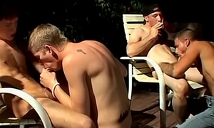Smoking lads pounding each other in big dick foursome