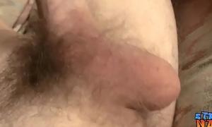 Straight inked thug jacks off his hard dick and sprays cum
